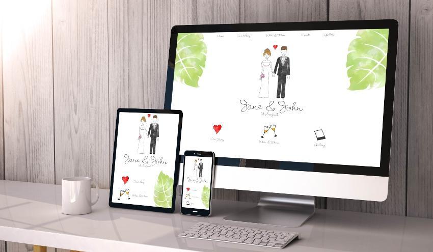 Webseite mit Verlobungsmotiv
