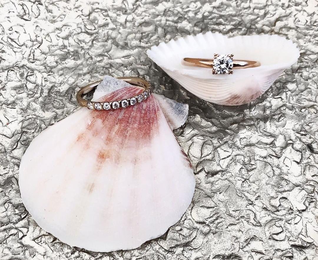 Verlobungsringe auf einer Muschel drapiert