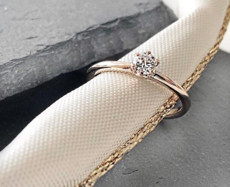 Verlobungsring The One 0,2 ct. | Solitärring aus 585 Roségold mit Diamant