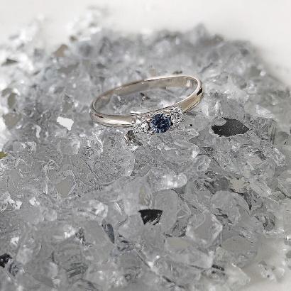 3 Diamonds Blue in 585 Weissgold