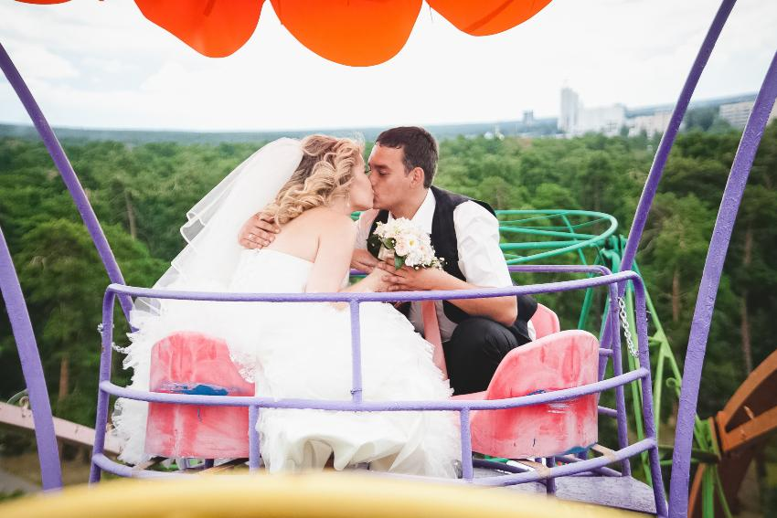 Hochzeitspaar im Riesenrad