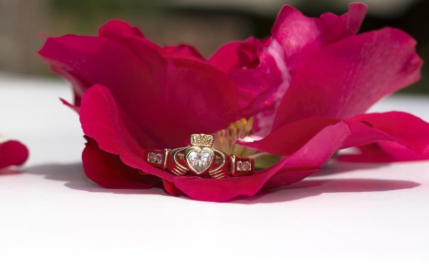 Ein irischer Claddagh-Ring in einem Rosenblatt