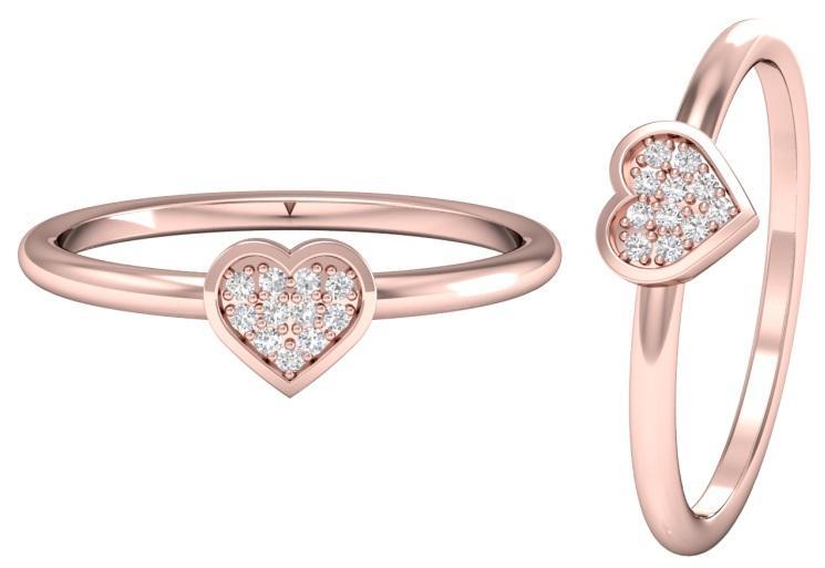 Ringe mit Herzdiamant in Roségold