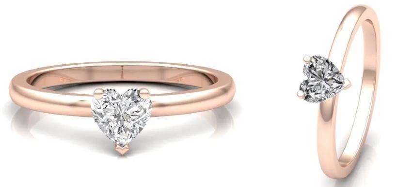 Klassik Heart 0,5 ct. Solitärring aus 750 Roségold mit Diamant (0,5 ct.)