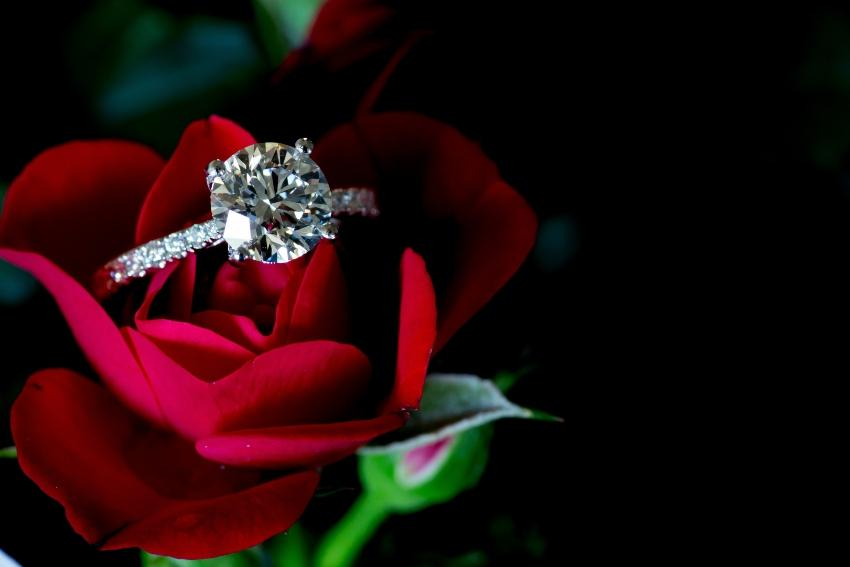 Ring in einer Rose