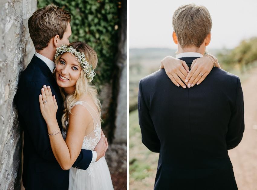 Brautpaar beim Fotoshooting in der Natur
