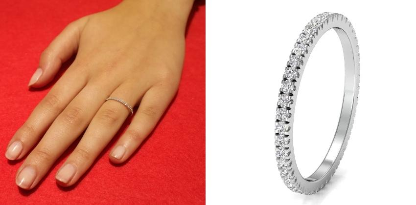 Memoire-Ring aus 585 Weißgold mit Diamant