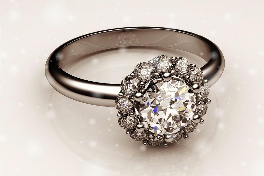 Cluster-Ring mit Diamanten als Vintage-Ring