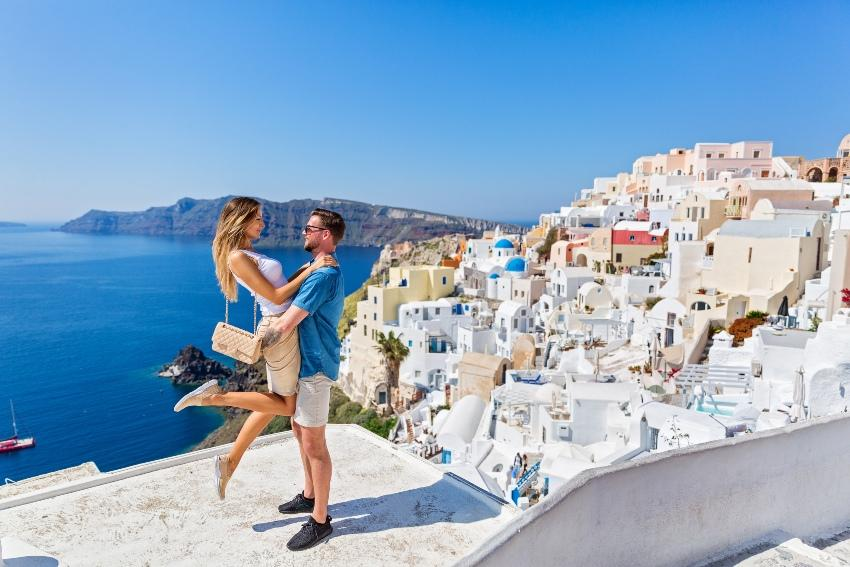 Paar in Santorini