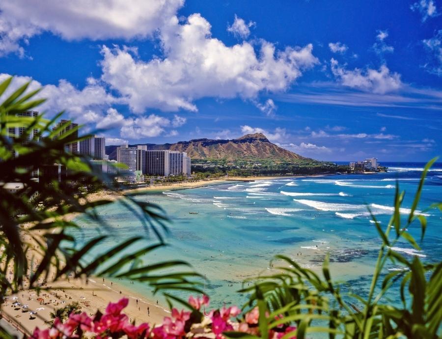 Waikiki Beach und Diamond Head in Hawaii