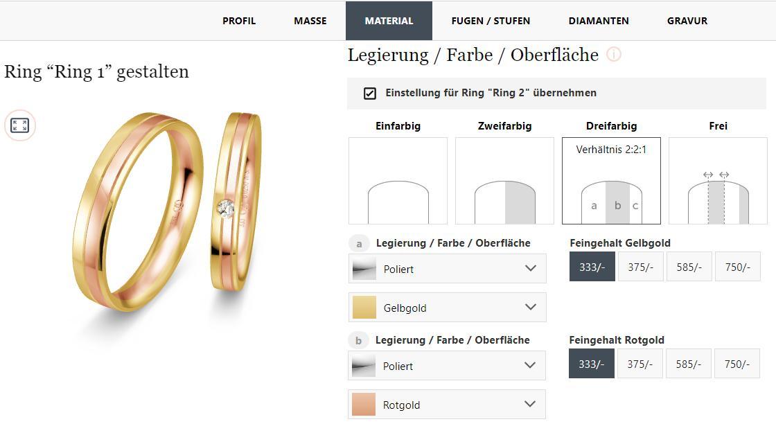 Der BREEDIA Ringkonfigurator bei Verlobungsring.de