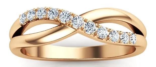 Pressure 0,11 ct. Moderner Ring aus 585 Rosegold mit Diamant