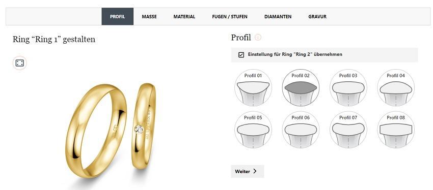 Ringkonfigurator von verlobungsring.de - Diamant online aussuchen
