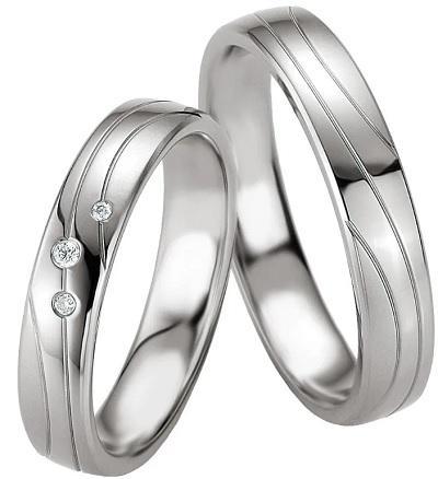 Tamira Silver & Diamonds | Partnerringe / Eheringe aus 925 Silber mit Diamant (0,032 ct.)