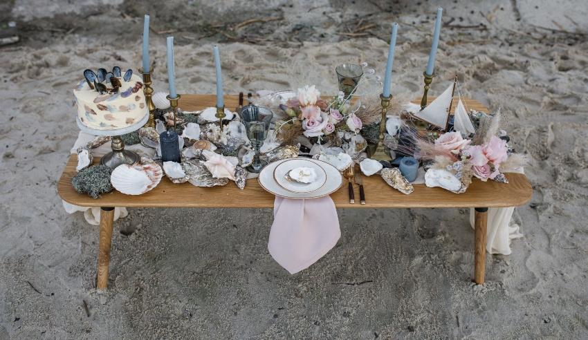 Sandstrand, Hochzeits-Tischdekoration