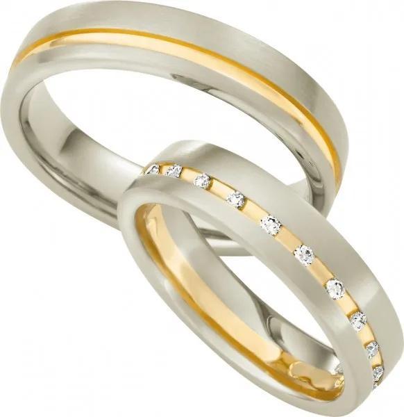 Eheringe No.22 | Bicolorring aus 375 Weißgold / 375 Gelbgold mit Diamant (0,22 ct.)