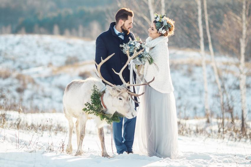 Hochzeitspaar im Schnee, ein weißer Hirsch steht dabei