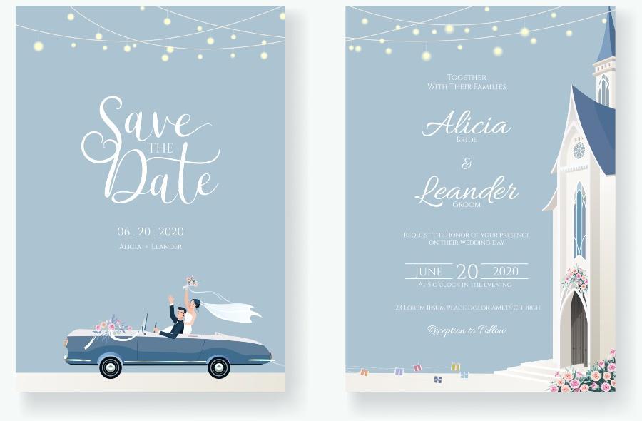 Save The Date Einladungskarte - Zeit zwischen Verlobung und Hochzeit